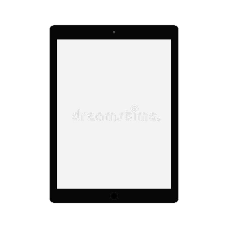 Black tablet with grey screen. Tablet flat style vector eps10. Tablet with empty grey screen icon vector royalty free illustration