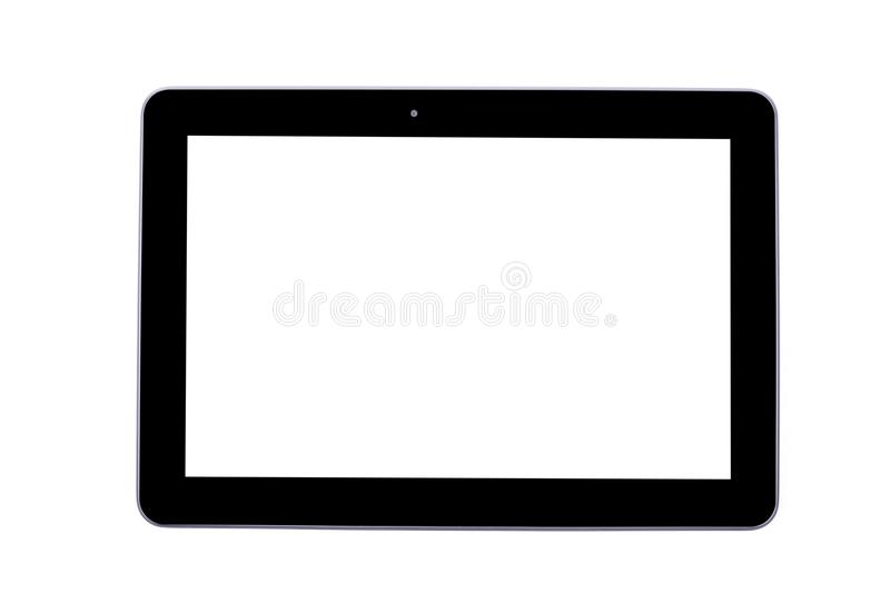 Black tablet isolated in white. Template stock photo