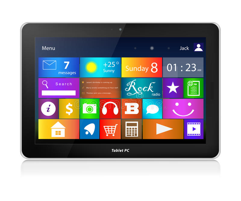 Black Tablet PC with metro interface. Black Tablet PC. Metro interface. Horizontal royalty free illustration