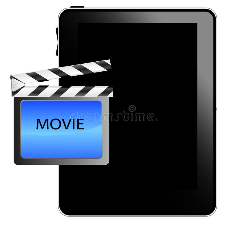 Download Black Tablet Pc With Movie Icon Stock Vector - Image: 18189554