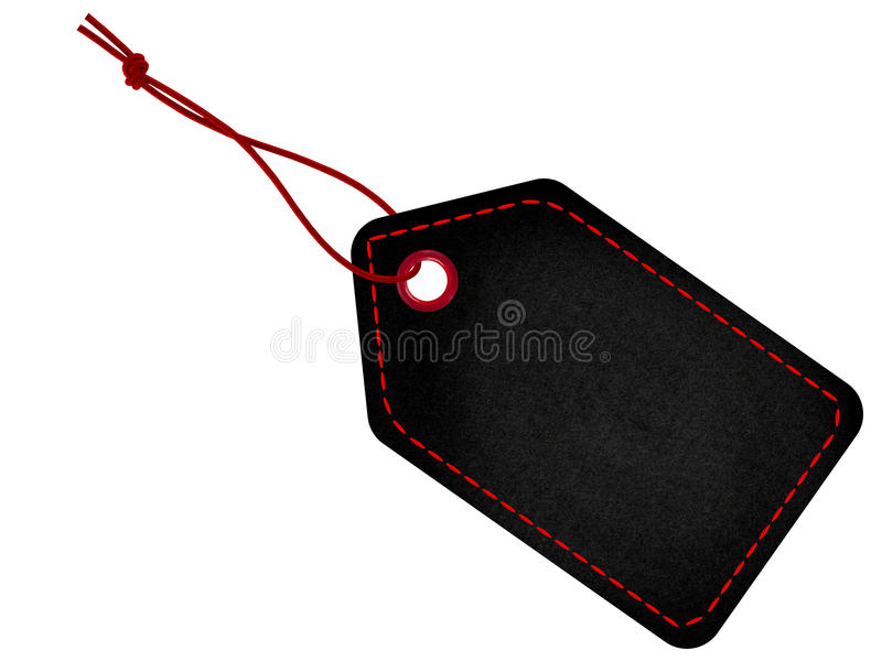 Black tag label with string and stitches. Suitable for Black Friday royalty free stock photo