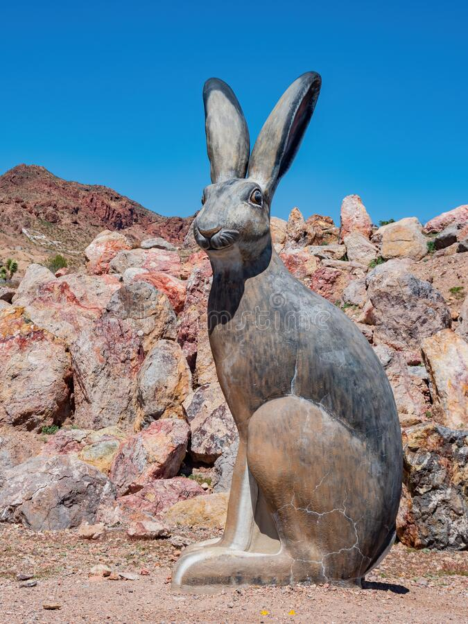 Black tailed jackrabbit statue in Nature Discovery Trail and Rock Garden. At Nevada royalty free stock photography