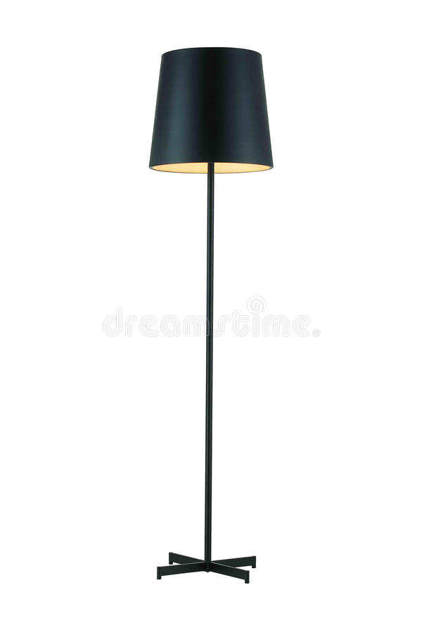 Black Tall Floor Lamp. Isolated on white background royalty free stock photo