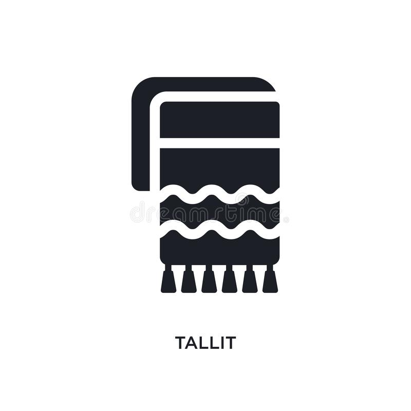 black tallit isolated vector icon. simple element illustration from religion concept vector icons. tallit editable logo symbol stock illustration