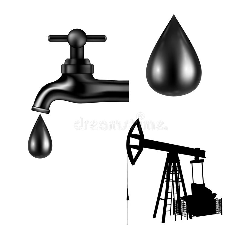 Black tap with oil drop. Petroleum rig silhouette. Vector illustration. stock illustration