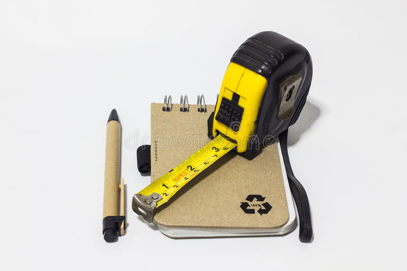 Download Black Tape Measure Accessories, Notebook, Pen On Background Whit Stock Image - Image of calculator, centimeter: 28930515