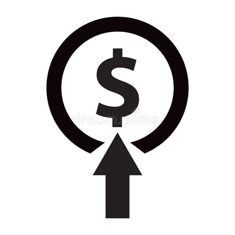 Black Target with dollar symbol icon isolated on white background. Investment target icon vector illustration