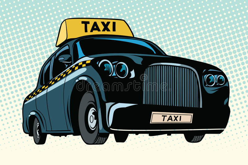 Black taxi with a yellow sign. Pop art retro vector illustration vector illustration
