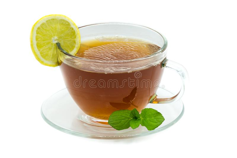 Black tea in cup isolated on white background. Black tea in cup isolated white background stock photography