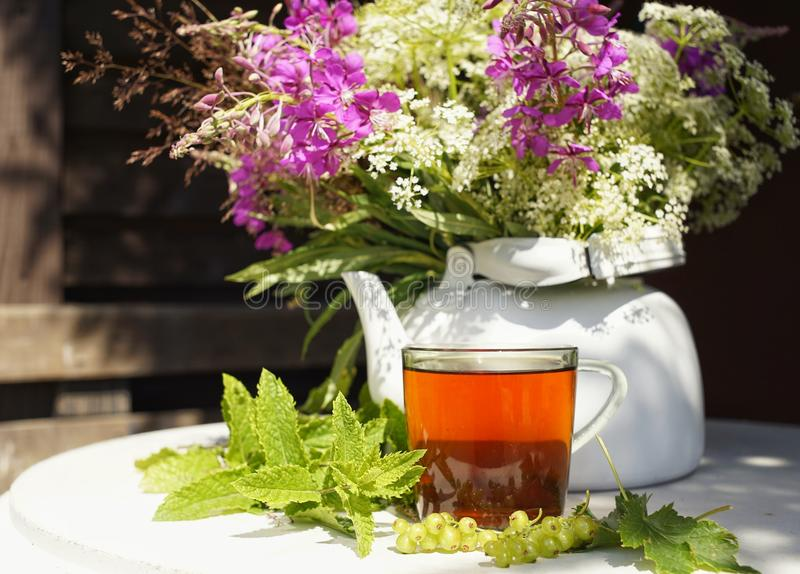 black tea glass cup white kettle table sunlight close-up bouquet flowers stock photography