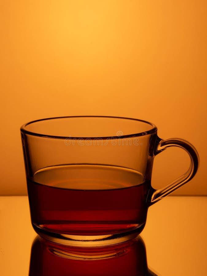 black tea in a glass mug stock image