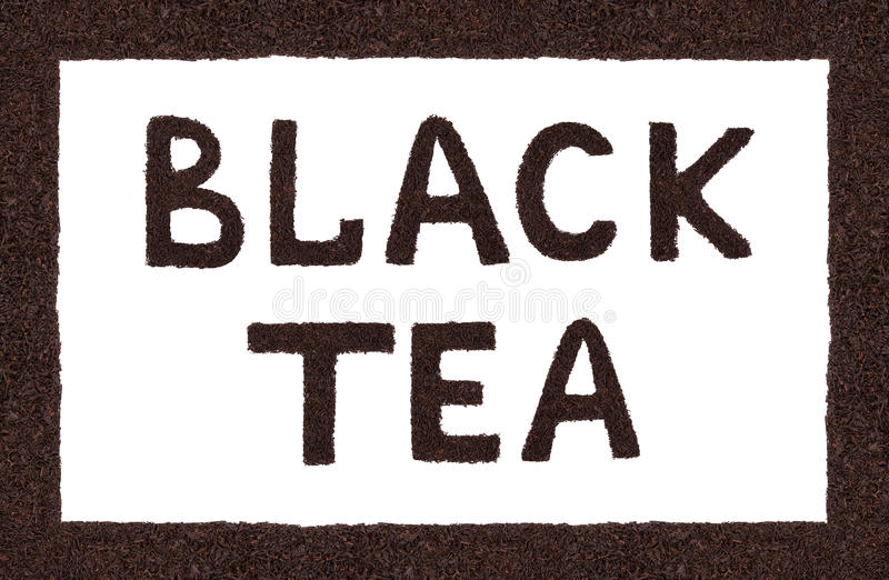 Black tea is the inscription on the white background. royalty free stock image