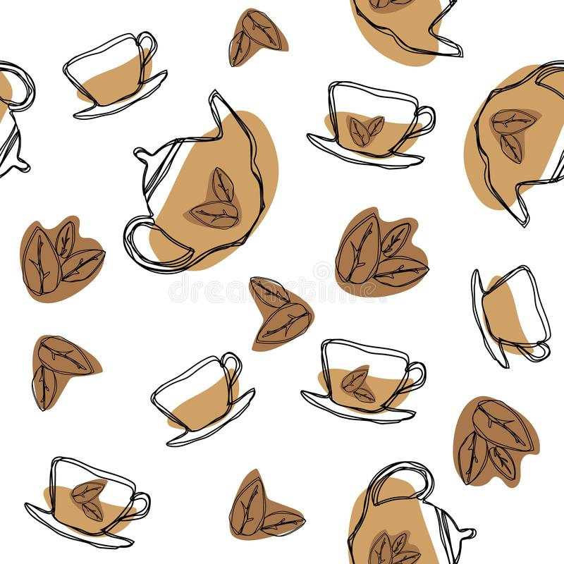 Black tea leaf, teapots and cups vector seamless pattern. Hand drawing vintage texture. royalty free illustration