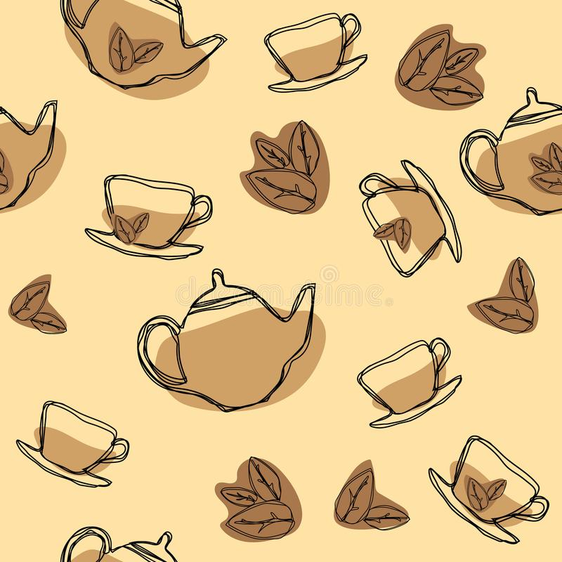 Black tea leaf, teapots and cups vector seamless pattern. Hand drawing vintage texture. stock illustration