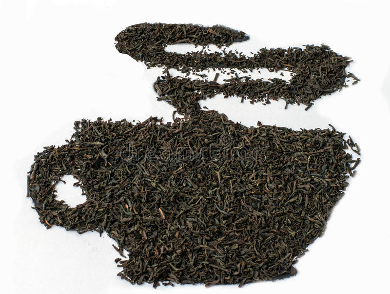 Black tea leaves. Earl gray tea. Black tea leaves. Earl gray tea shaped as tea pot on a white background stock photography