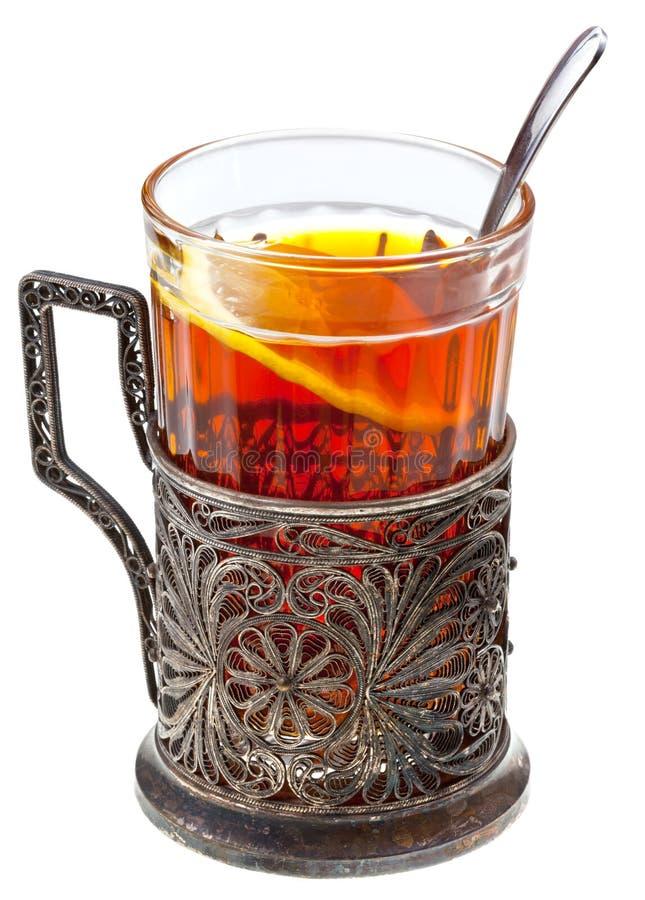 Download Black Tea With Lemon In Retro Glass Stock Image - Image: 29425309