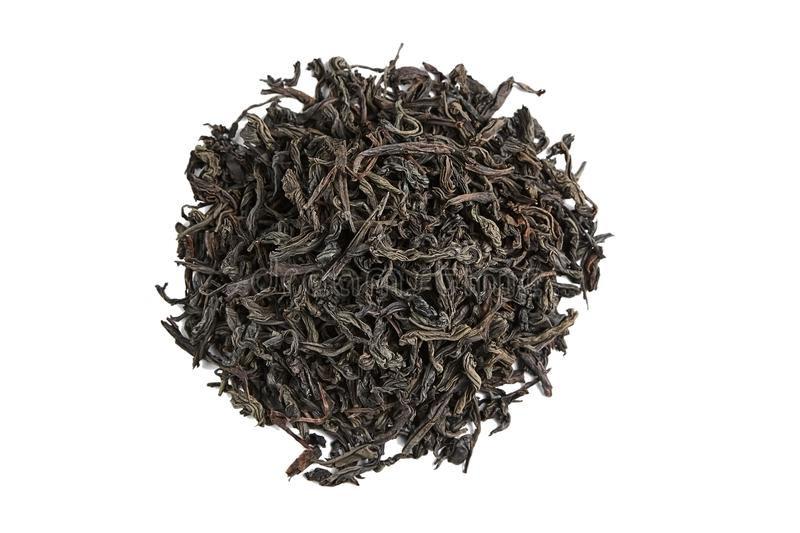 Black tea loose dried tea leaves. isolated royalty free stock images
