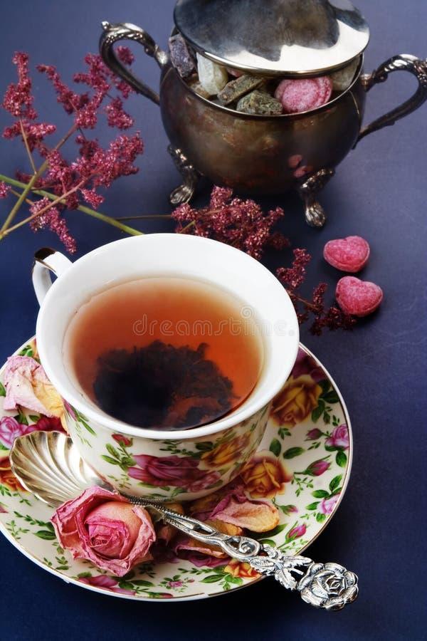 Black tea. Black tea, vintage style still life stock photo
