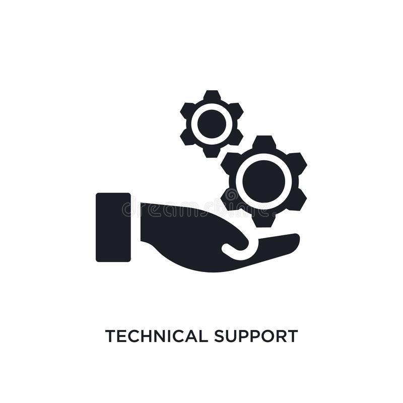 black technical support isolated vector icon. simple element illustration from big data concept vector icons. technical support royalty free illustration