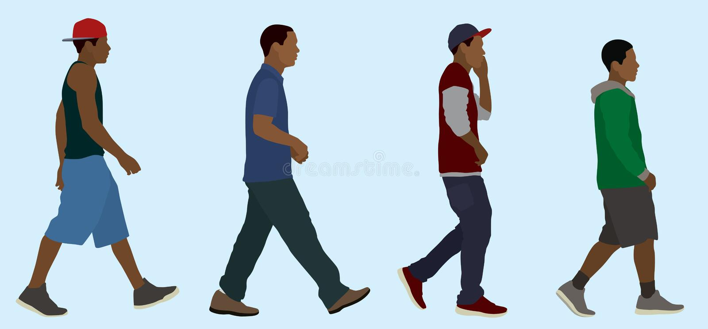 Black Teen Boys Walking vector illustration