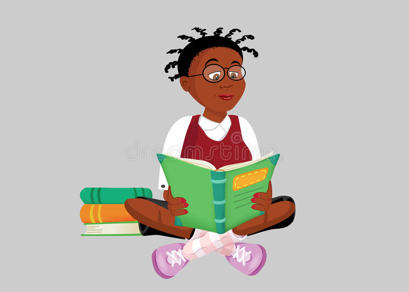 Black Teenager Reading A Book Stock Illustration
