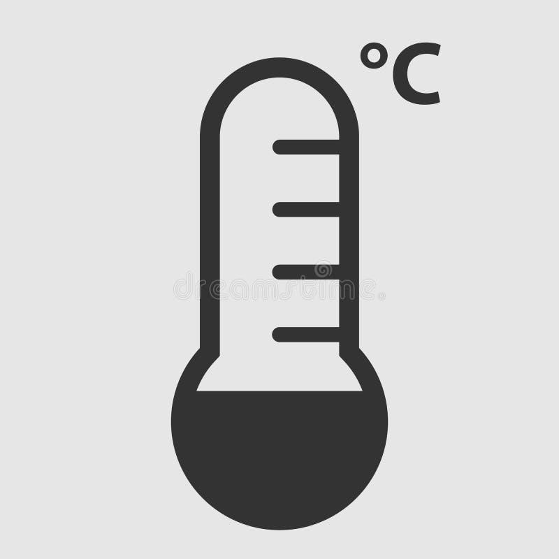 Black temperature icon on a white background. Vector design icon stock illustration