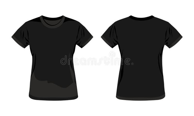 Black template woman t shirt vector illustration