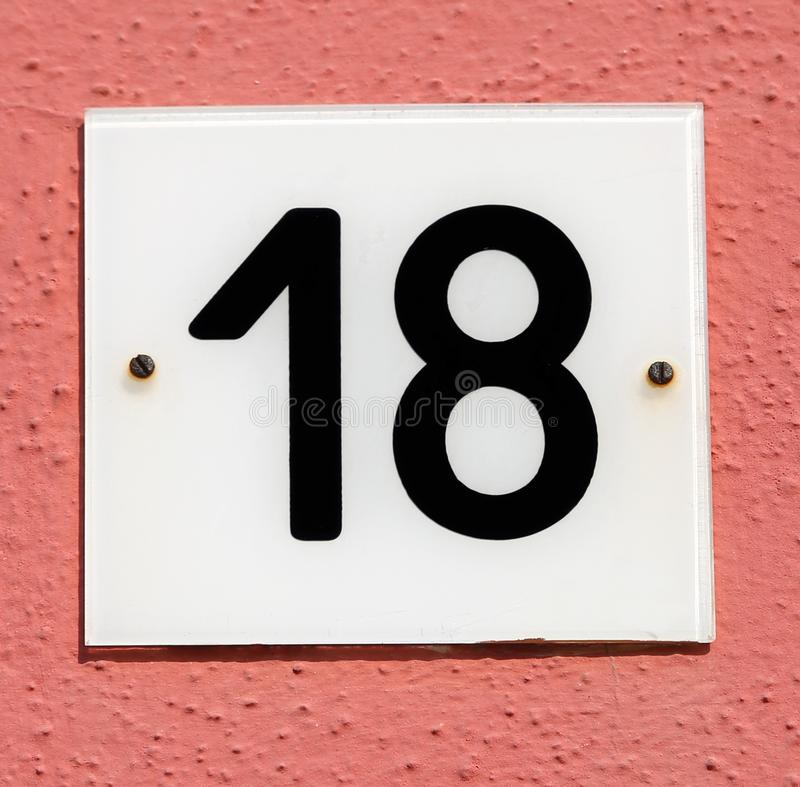 Text with number 18 stock photography