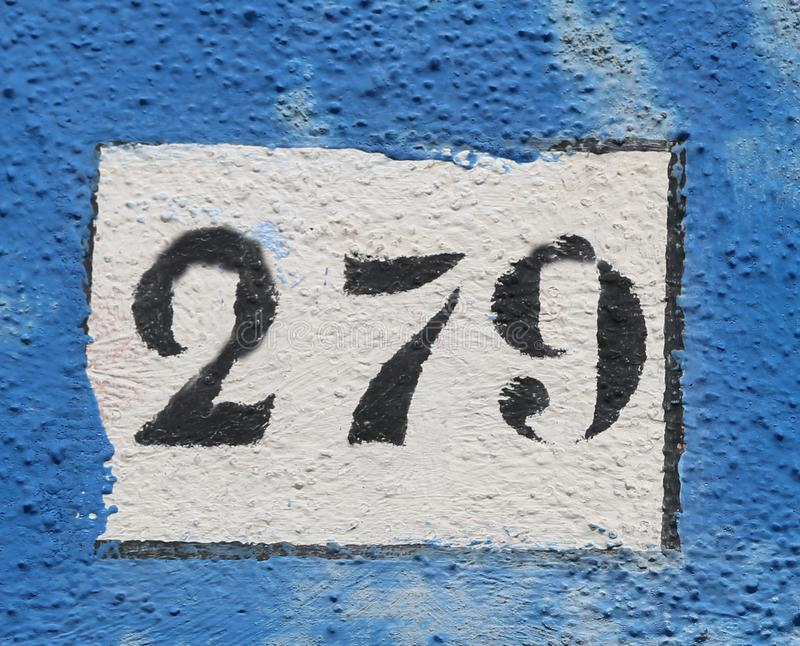 Black Text with number 279 on the wall royalty free stock photo