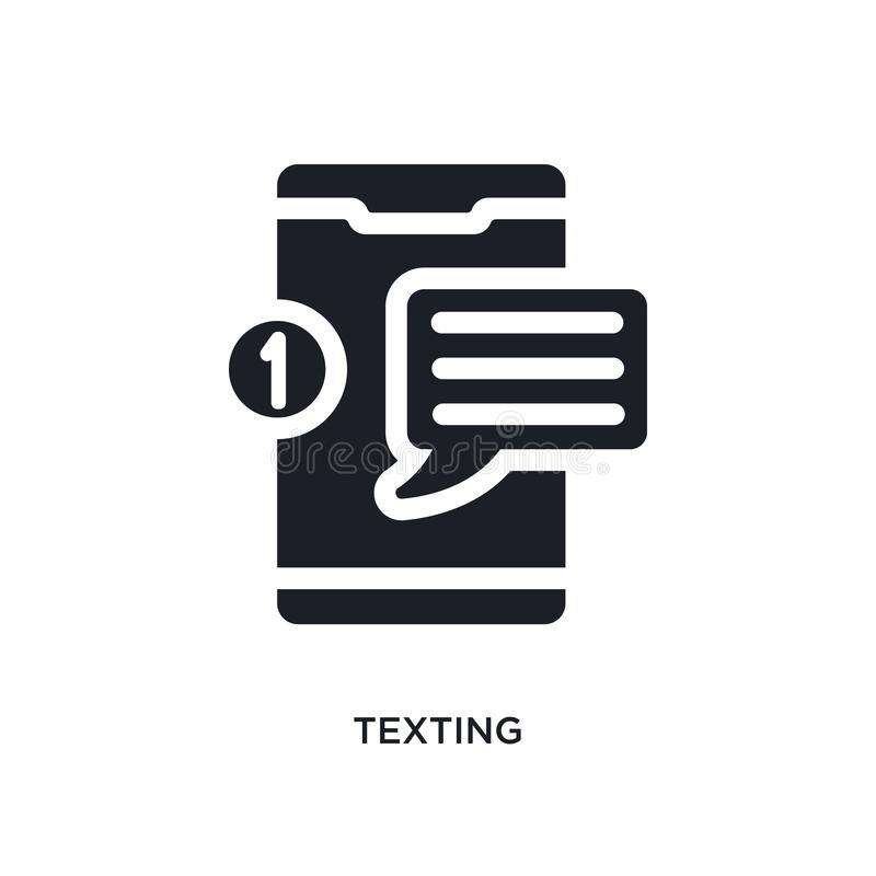 Black texting isolated vector icon. simple element illustration from mobile app concept vector icons. texting editable logo symbol. Design on white background stock illustration