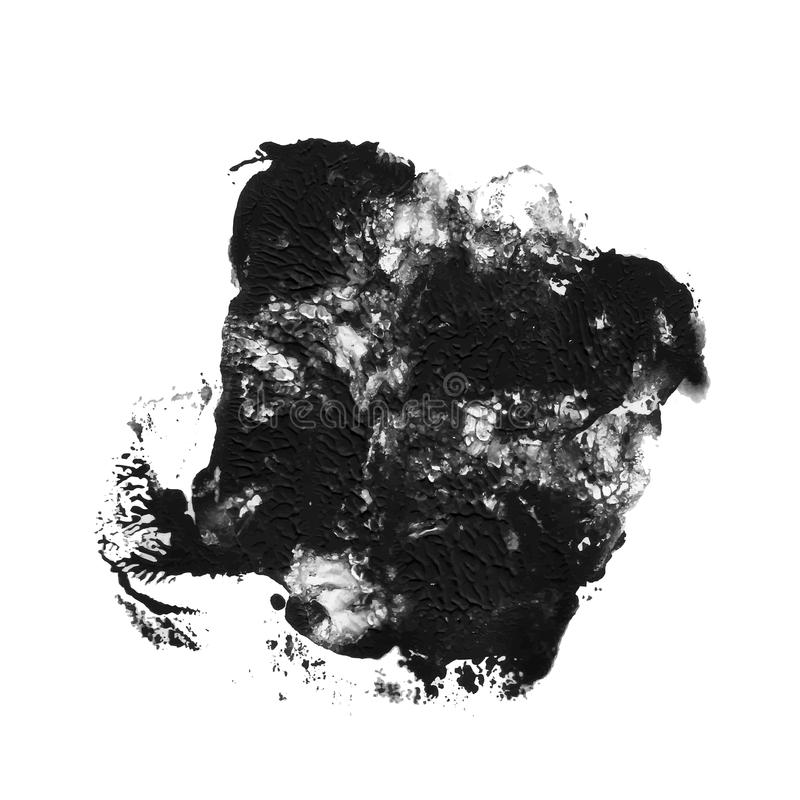 Black textured acrylic paint abstract spot. monotyped imprint vector illustration