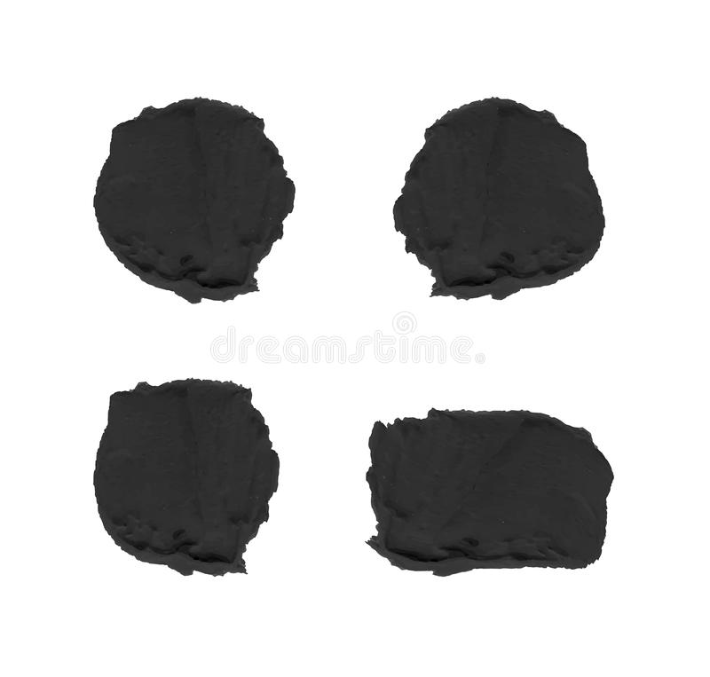 Black Textured Paint Spots Isolated on White Background VECTOR. royalty free illustration