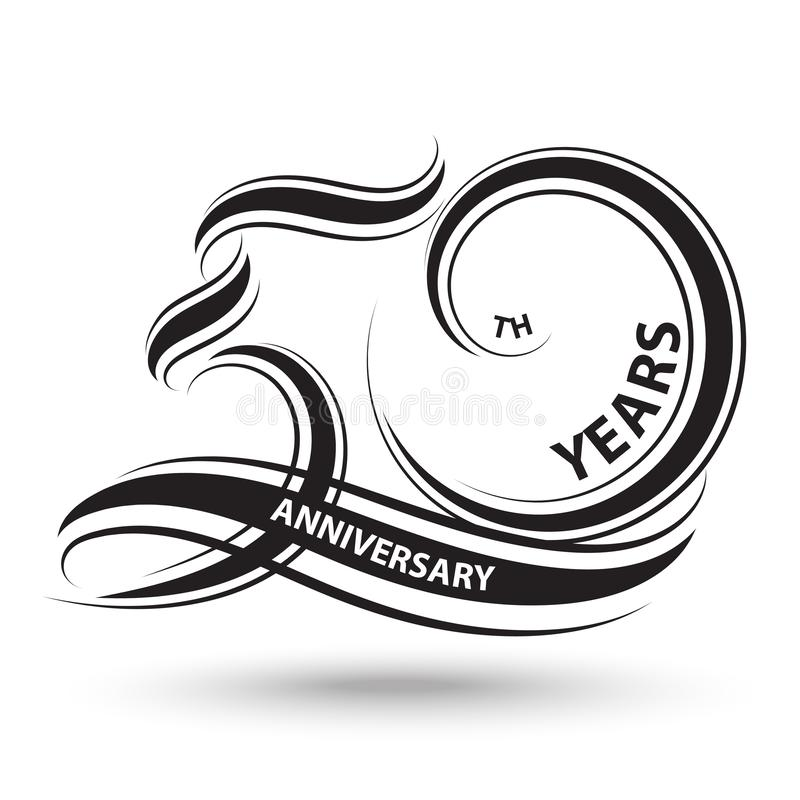 Black 50th anniversary sign and logo for celebration symbol.  stock illustration