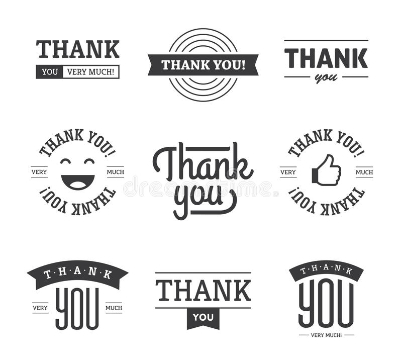Black Thank You Labels And Signs Stock Vector