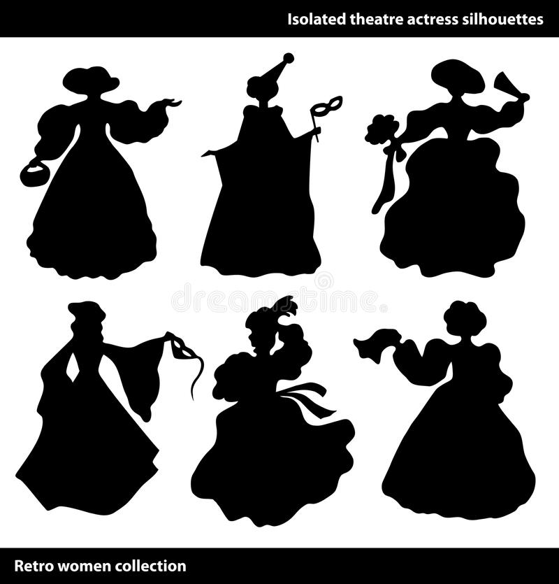 Black theatre actress silhouettes. Vintage women set. Columbine. stock illustration