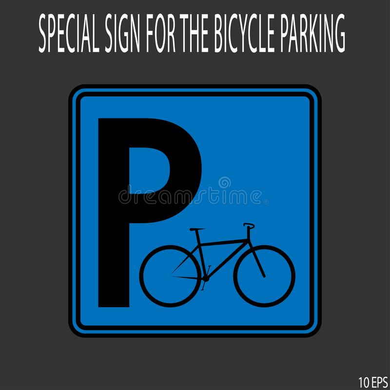 Black thin line on blue background like roadsign. Sign Bicycle Parking - vector illustration royalty free illustration