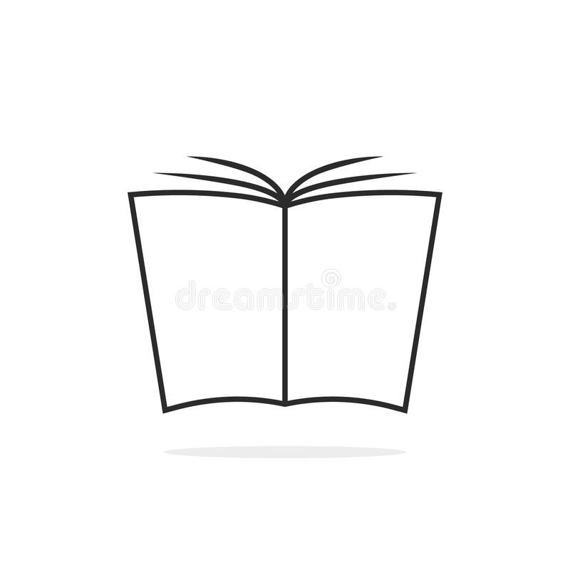Black thin line book logo vector illustration