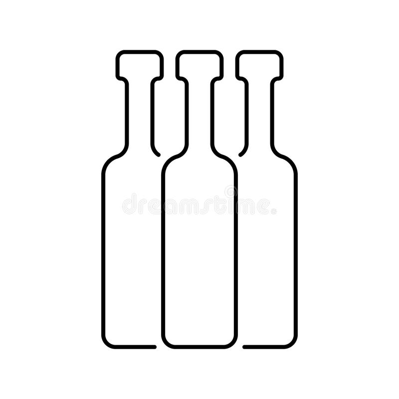 Black thin line bottles vector illustration