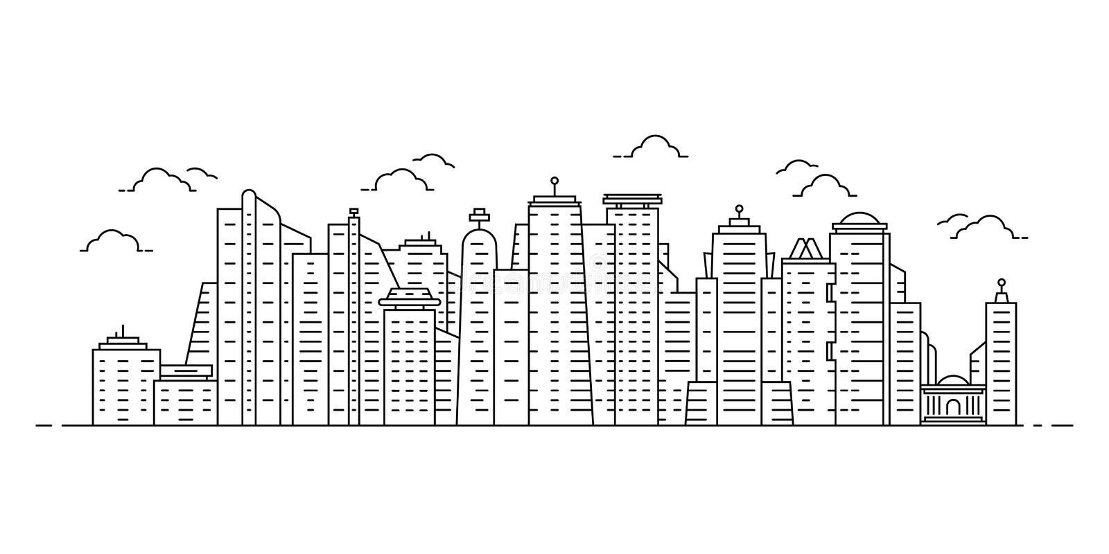 Black thin line cityscape with skyscrapers vector illustration