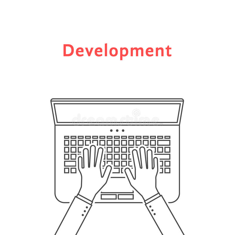Black thin line hands on laptop stock illustration