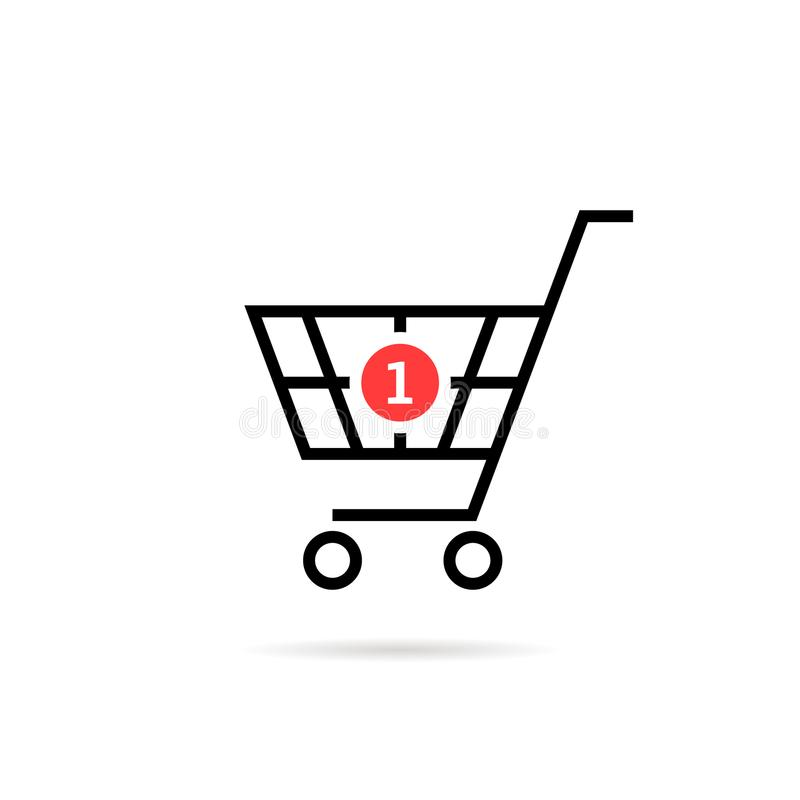 Black thin line simple shopping cart with one purchase stock illustration