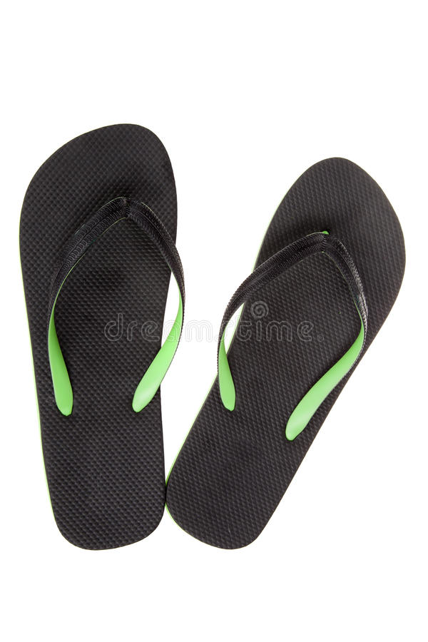 Black thongs, isolated. Beach Sandals, flip flops stock photography