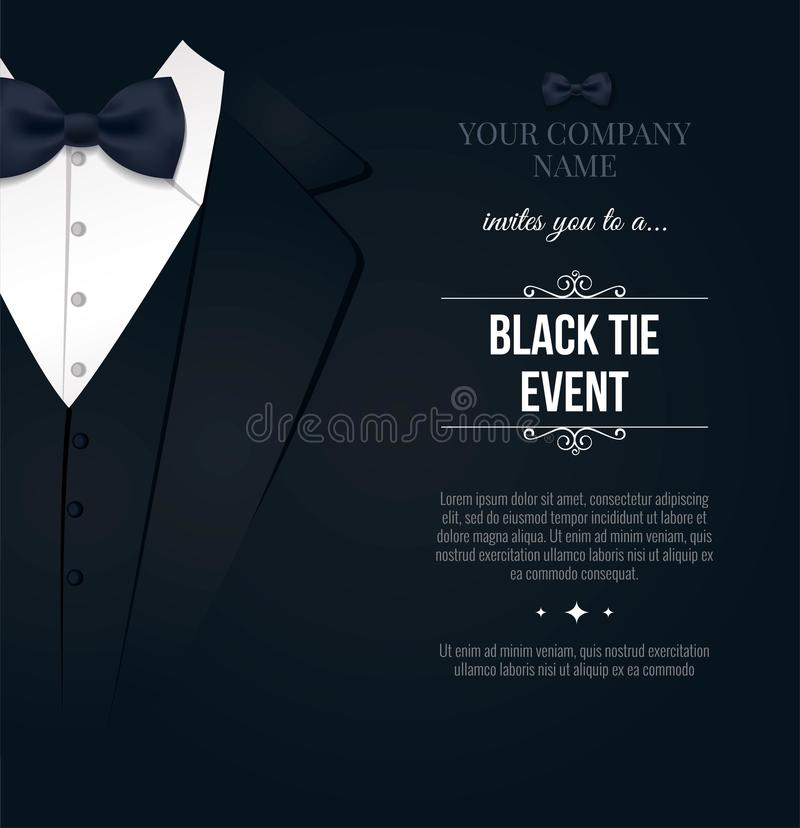 Black tie event invitation stock illustration illustration of gala black tie event invitation elegant black and white card vector illustration stopboris Images