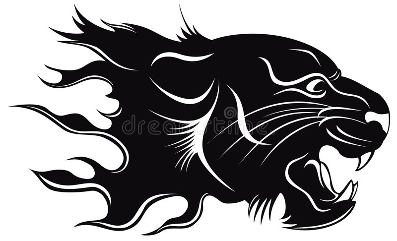 Black tiger. Black silhouette of a head of a tiger with a flame