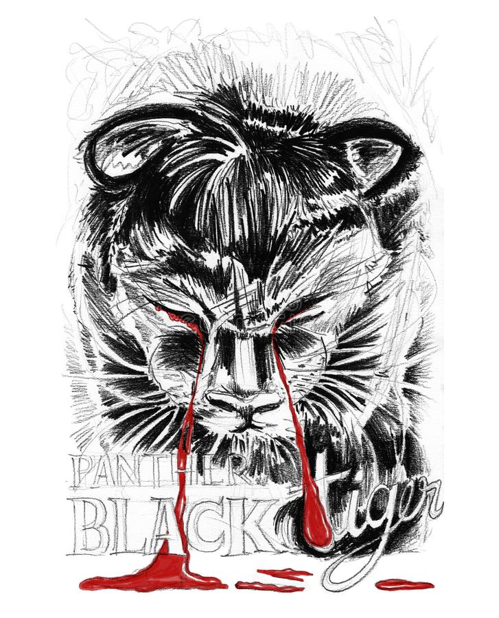 Black Tiger or Panthom puppy crying is blood pencil stroke drawn royalty free illustration