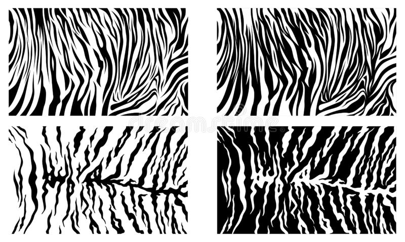 Black Tiger Stripes Vector Pattern Texture Background Stock Collection royalty free illustration