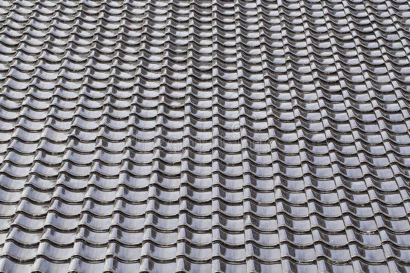 Black tiled roof in Japanese style royalty free stock photo
