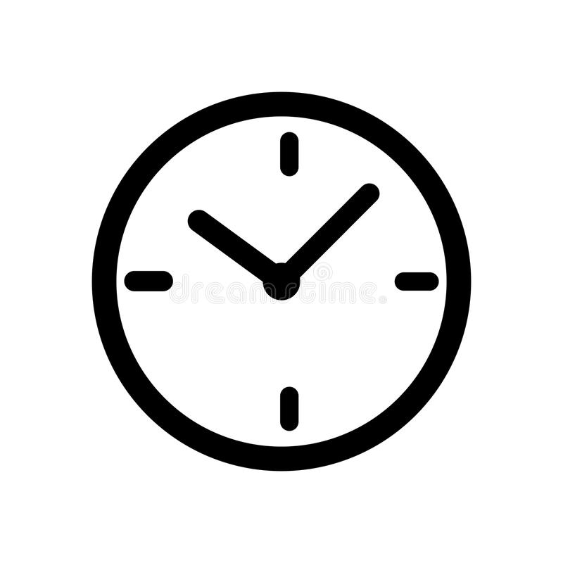 Black time clock icon stock illustration