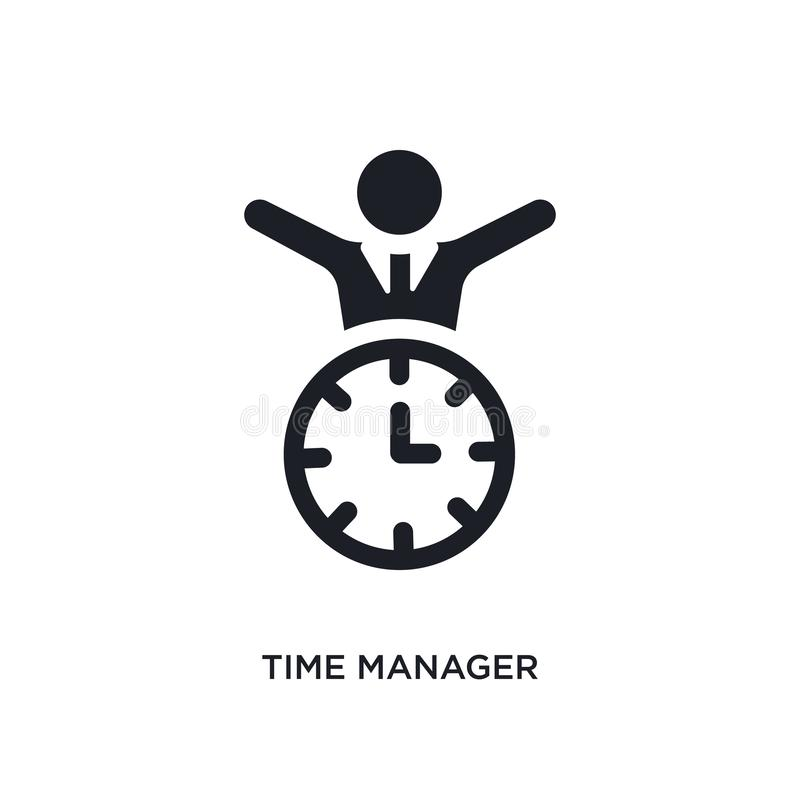 black time manager isolated vector icon. simple element illustration from time management concept vector icons. time manager royalty free illustration
