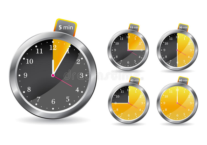 Download Black Timer Clock. Vector Illustration Royalty Free Stock Photo - Image: 14374835